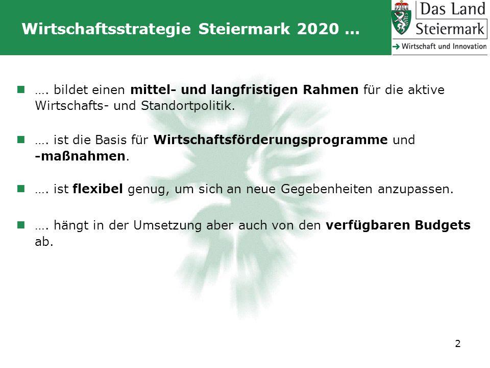 Wirtschaftsstrategie Steiermark 2020 … 2 …. bildet einen mittel- und langfristigen Rahmen für die aktive Wirtschafts- und Standortpolitik. …. ist die