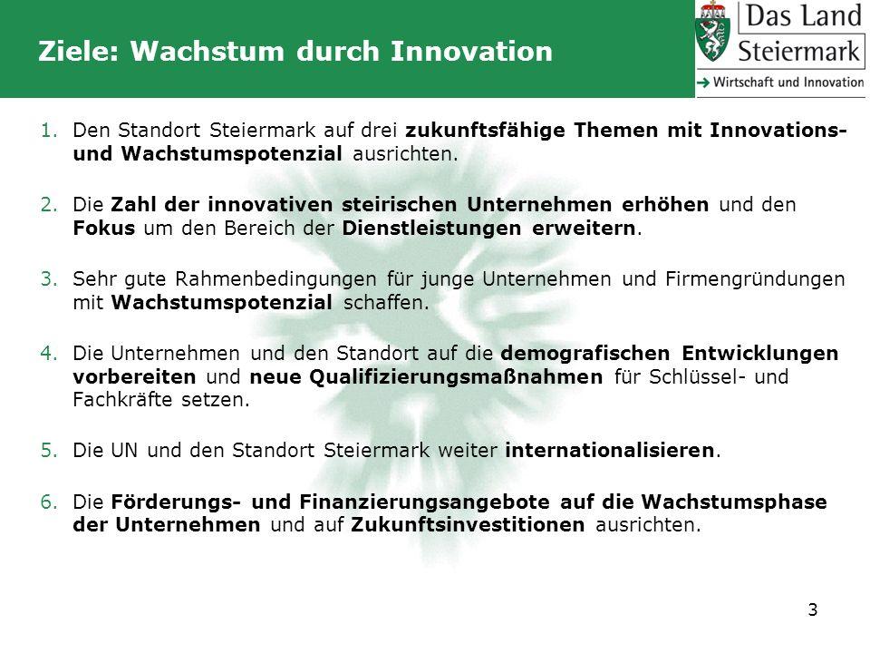 Ziele: Wachstum durch Innovation 1.Den Standort Steiermark auf drei zukunftsfähige Themen mit Innovations- und Wachstumspotenzial ausrichten. 2.Die Za