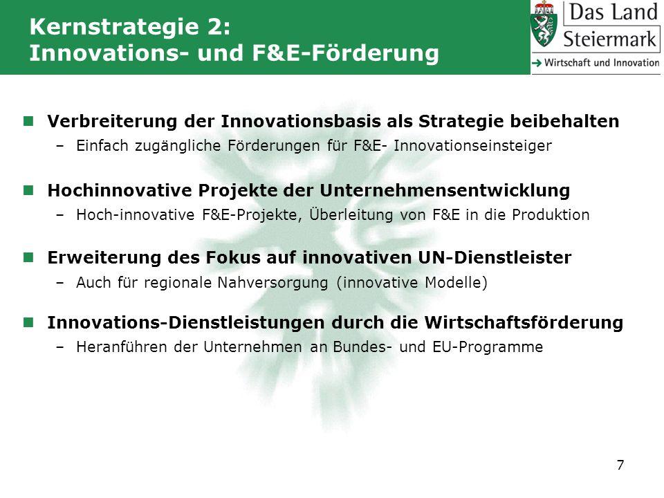 Verbreiterung der Innovationsbasis als Strategie beibehalten –Einfach zugängliche Förderungen für F&E- Innovationseinsteiger Hochinnovative Projekte d