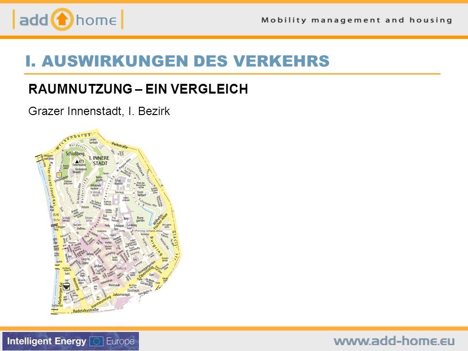 I. AUSWIRKUNGEN DES VERKEHRS RAUMNUTZUNG – EIN VERGLEICH Grazer Innenstadt, I. Bezirk