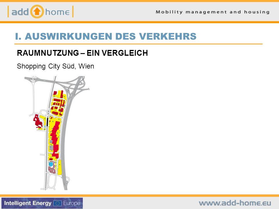 I. AUSWIRKUNGEN DES VERKEHRS RAUMNUTZUNG – EIN VERGLEICH Shopping City Süd, Wien