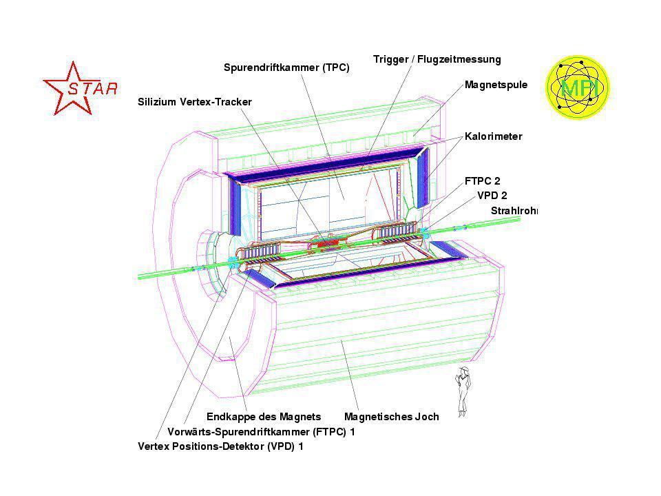 RHIC und STAR 3,8 km langer Ringtunnel 900 supraleitende Magnete 4 Experimente: –Brahms, Phobos, Phenix, Star zentrale -Stöße = 200 GeV pro Nukleonenpaar Suche nach Signaturen des Phasen- übergangs zum Quark-Gluon- Plasma (QGP) STAR untersucht hadronische Observablen