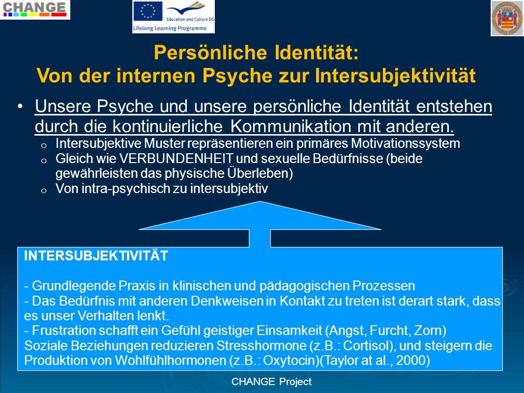 CHANGE Project Persönliche Identität: Von der internen Psyche zur Intersubjektivität Unsere Psyche und unsere persönliche Identität entstehen durch di
