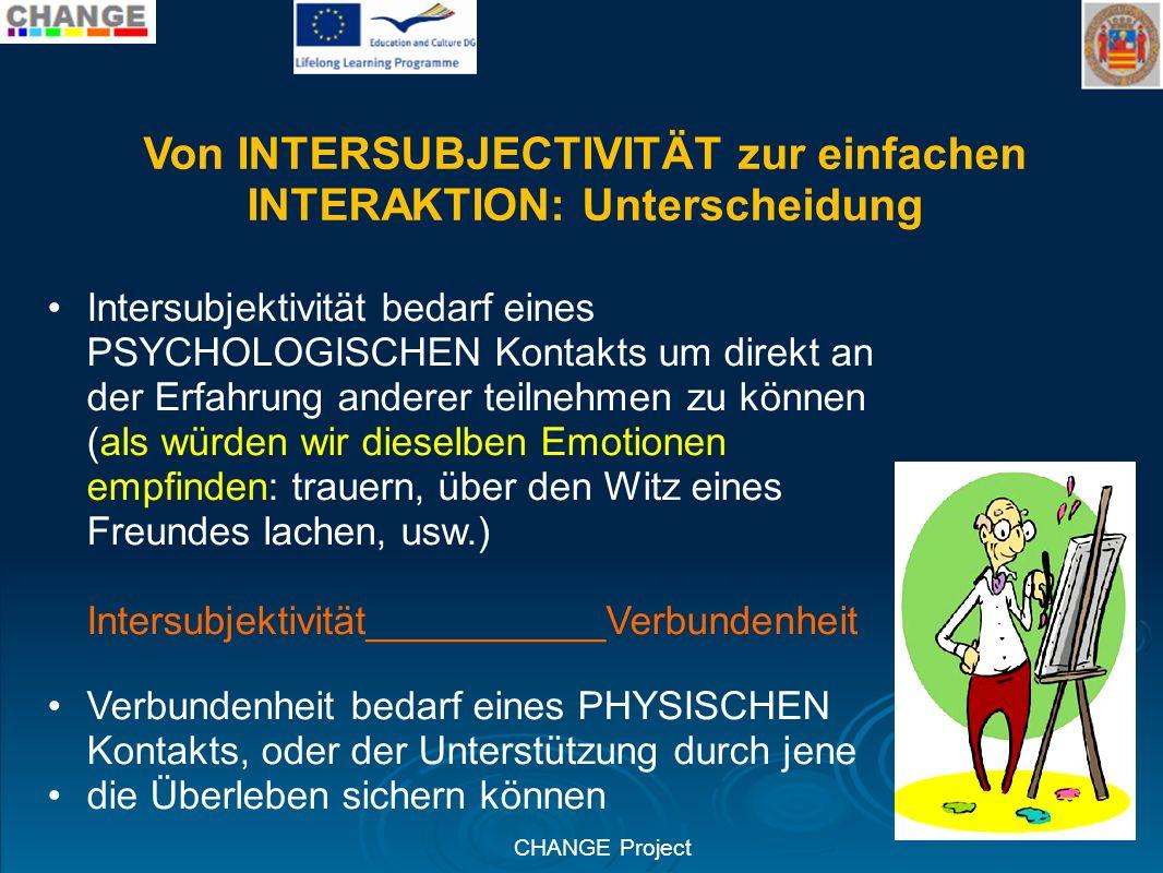 CHANGE Project Von INTERSUBJECTIVITÄT zur einfachen INTERAKTION: Unterscheidung Intersubjektivität bedarf eines PSYCHOLOGISCHEN Kontakts um direkt an