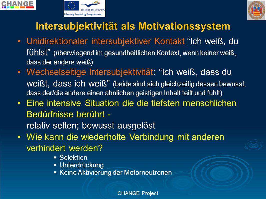 CHANGE Project Intersubjektivität als Motivationssystem Unidirektionaler intersubjektiver Kontakt Ich weiß, du fühlst (überwiegend im gesundheitlichen