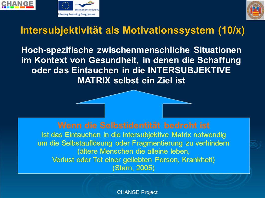 CHANGE Project Intersubjektivität als Motivationssystem (10/x) Hoch-spezifische zwischenmenschliche Situationen im Kontext von Gesundheit, in denen di
