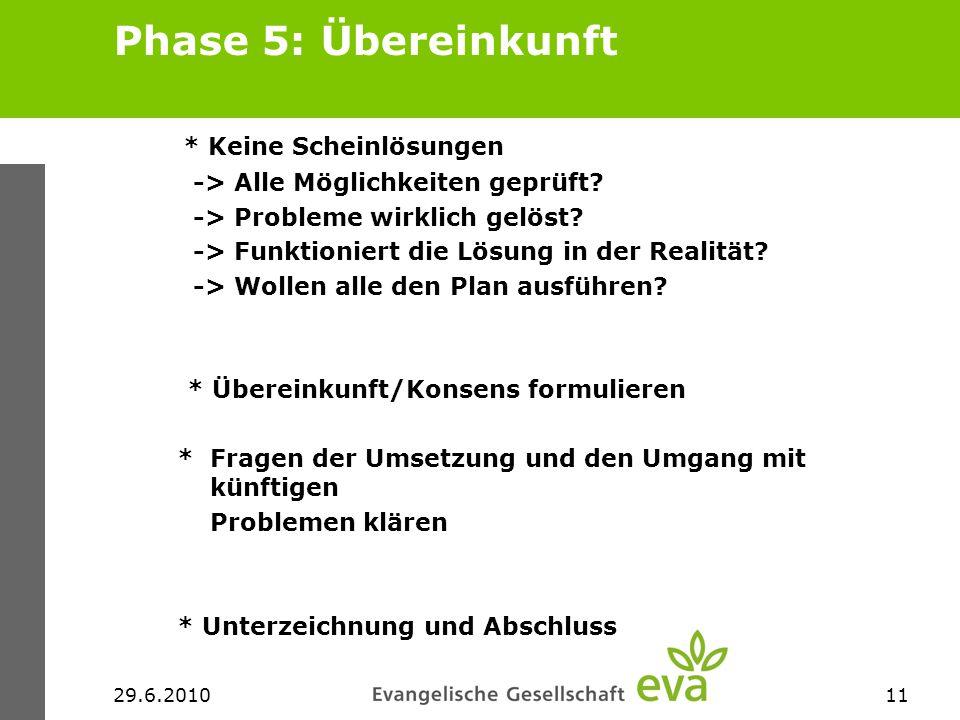 29.6.201011 Phase 5: Übereinkunft * Keine Scheinlösungen -> Alle Möglichkeiten geprüft? -> Probleme wirklich gelöst? -> Funktioniert die Lösung in der