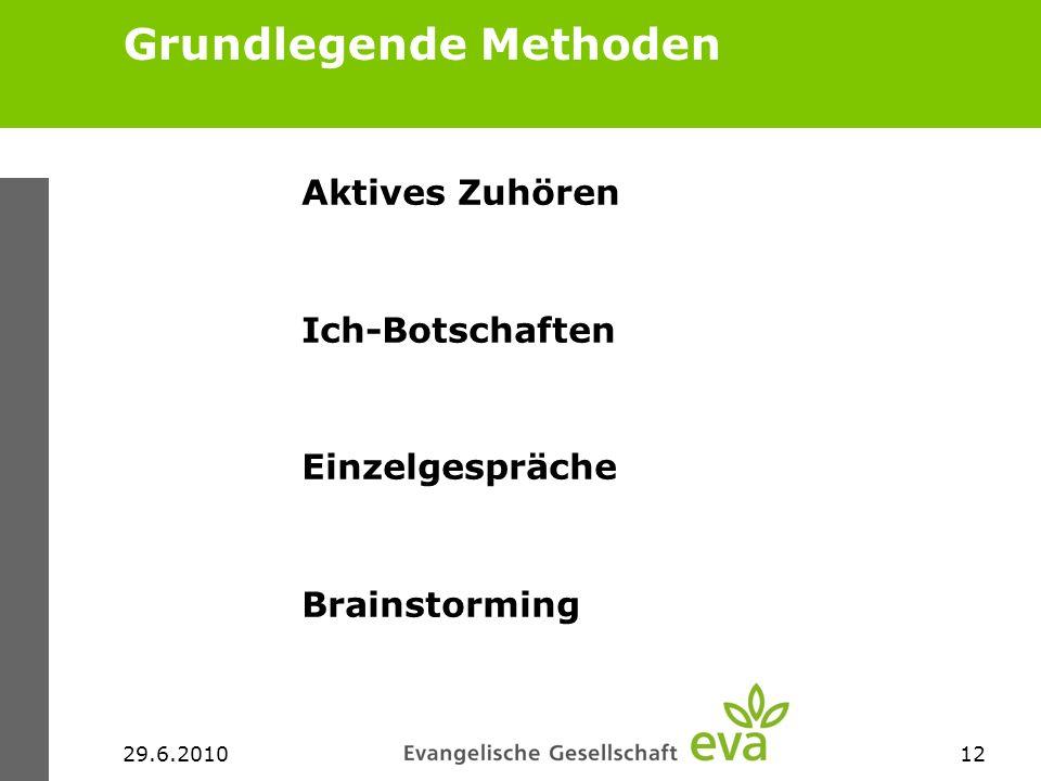 29.6.201012 Grundlegende Methoden Aktives Zuhören Ich-Botschaften Einzelgespräche Brainstorming
