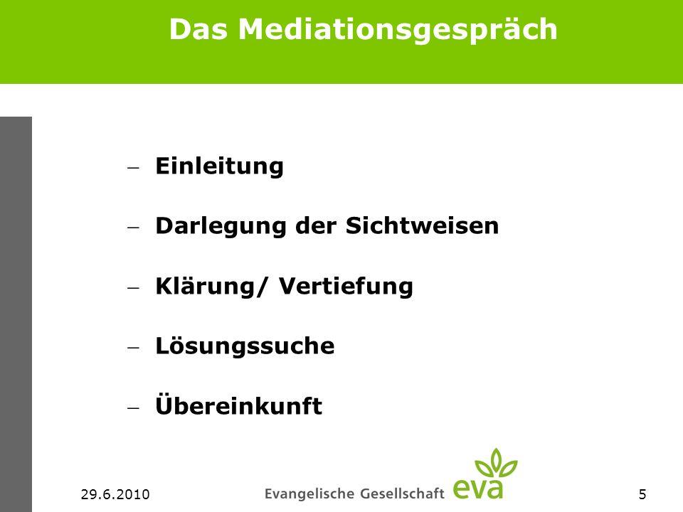 29.6.20105 Das Mediationsgespräch Einleitung Darlegung der Sichtweisen Klärung/ Vertiefung Lösungssuche Übereinkunft