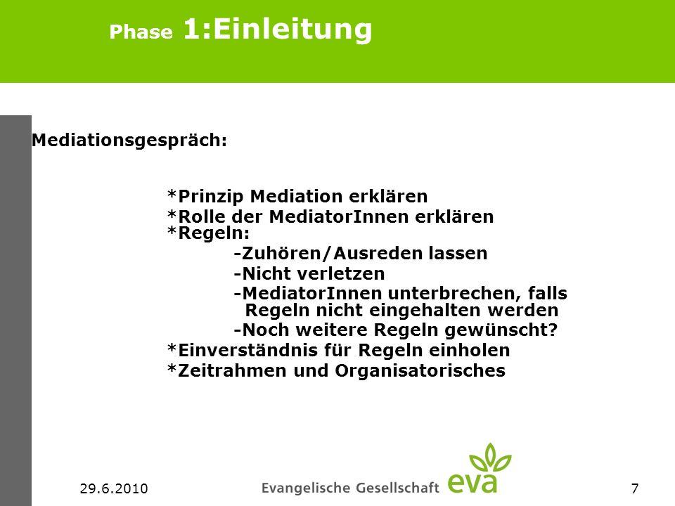 29.6.20107 Phase 1:Einleitung Mediationsgespräch: *Prinzip Mediation erklären *Rolle der MediatorInnen erklären *Regeln: -Zuhören/Ausreden lassen -Nic