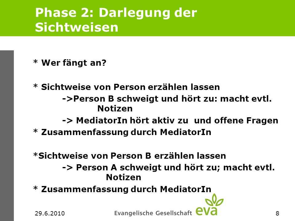29.6.20109 Phase 3: Klärung/ Vertiefung Reaktionen der Personen auf das Gehörte * Reaktionen der Personen auf das Gehörte * Rückfragen * Med.: Haben Sie etwas Neues erfahren.