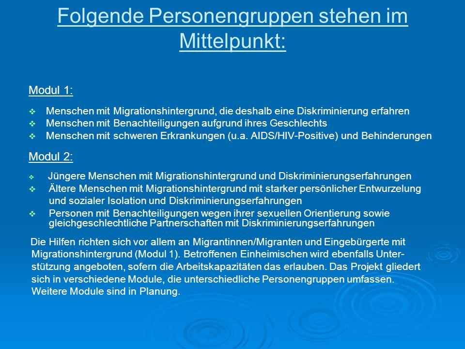 Folgende Personengruppen stehen im Mittelpunkt: Modul 1: Menschen mit Migrationshintergrund, die deshalb eine Diskriminierung erfahren Menschen mit Benachteiligungen aufgrund ihres Geschlechts Menschen mit schweren Erkrankungen (u.a.