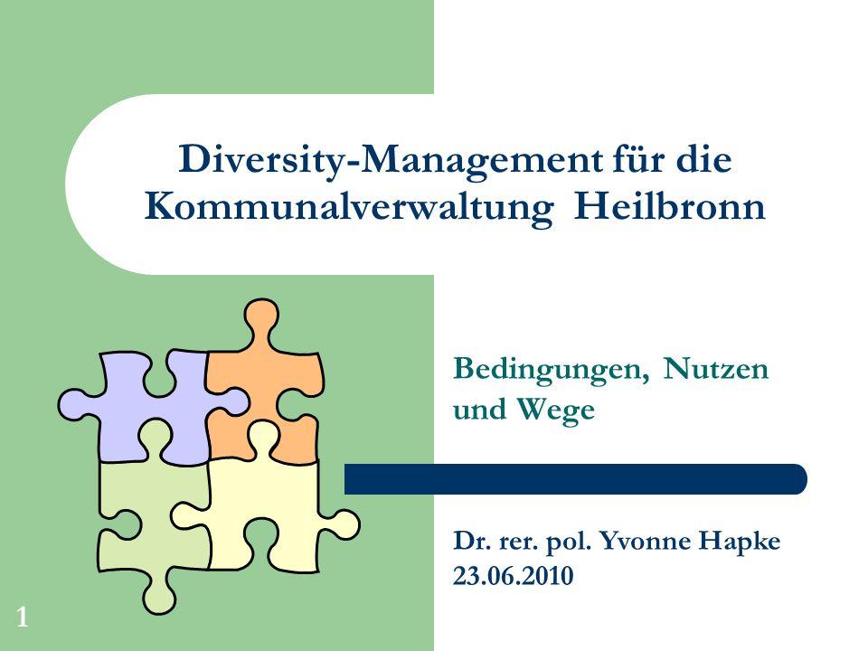 1 Diversity-Management für die Kommunalverwaltung Heilbronn Bedingungen, Nutzen und Wege Dr. rer. pol. Yvonne Hapke 23.06.2010