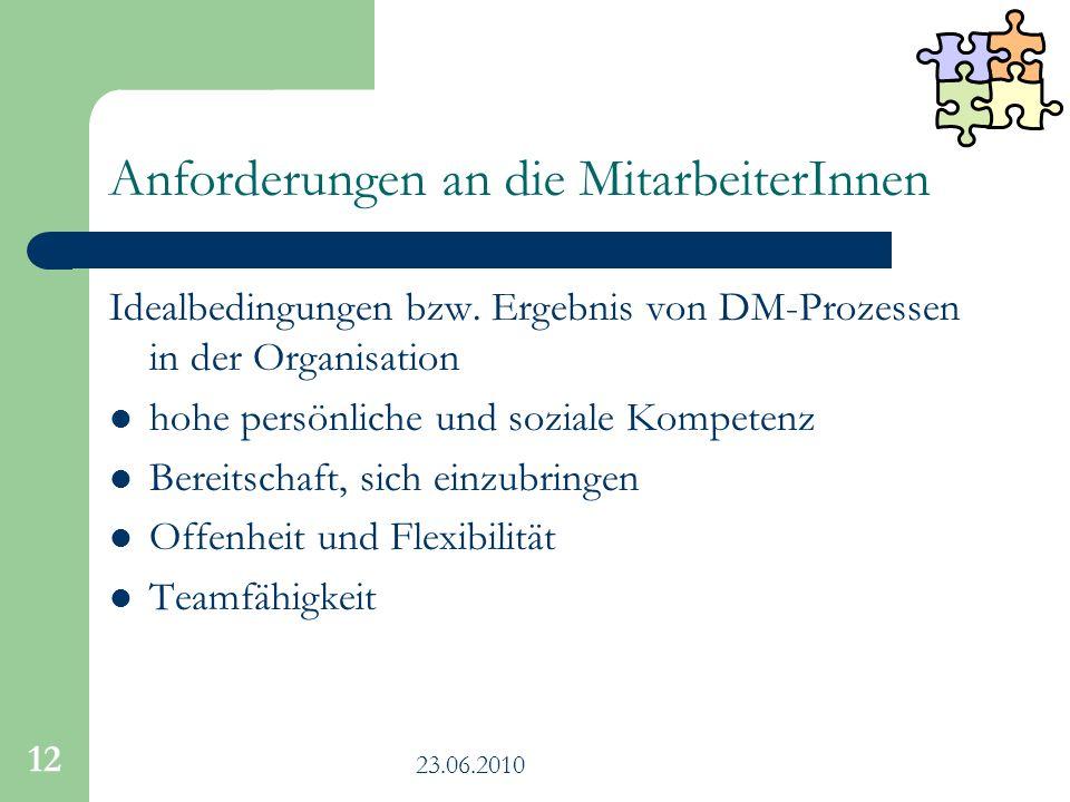 23.06.2010 12 Anforderungen an die MitarbeiterInnen Idealbedingungen bzw. Ergebnis von DM-Prozessen in der Organisation hohe persönliche und soziale K