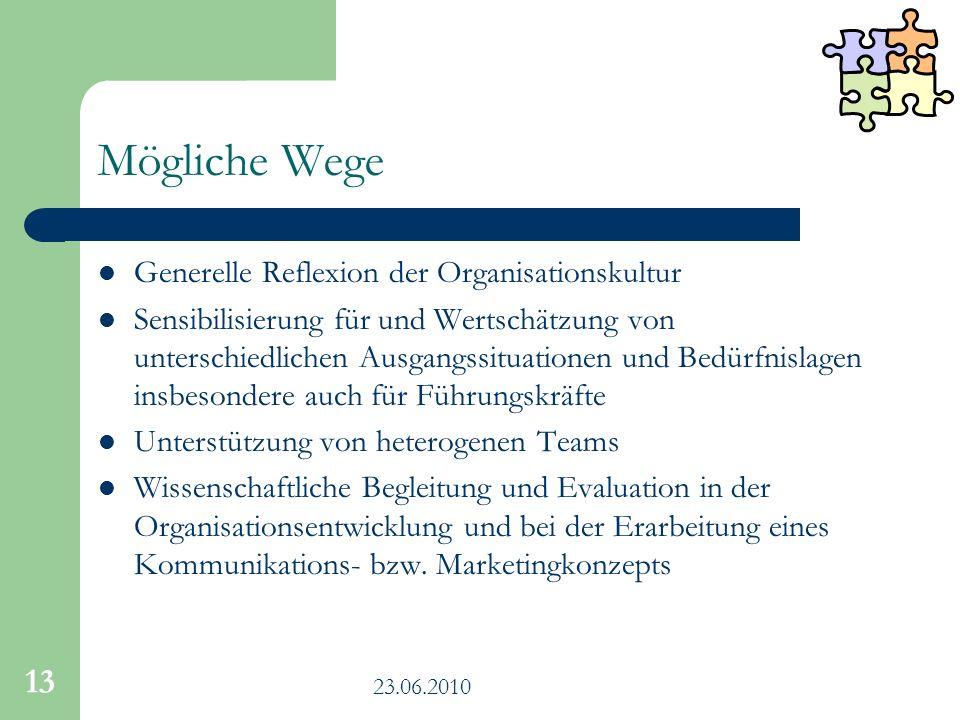 23.06.2010 13 Mögliche Wege Generelle Reflexion der Organisationskultur Sensibilisierung für und Wertschätzung von unterschiedlichen Ausgangssituation