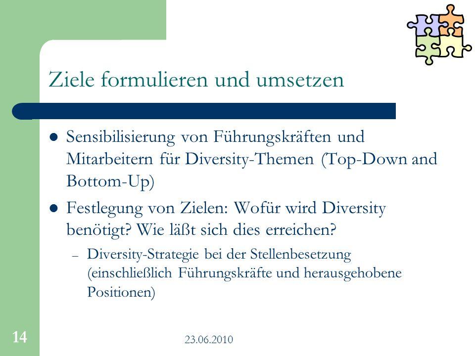 23.06.2010 14 Ziele formulieren und umsetzen Sensibilisierung von Führungskräften und Mitarbeitern für Diversity-Themen (Top-Down and Bottom-Up) Festl