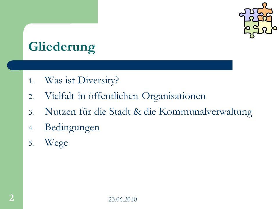 2 Gliederung 1. Was ist Diversity? 2. Vielfalt in öffentlichen Organisationen 3. Nutzen für die Stadt & die Kommunalverwaltung 4. Bedingungen 5. Wege