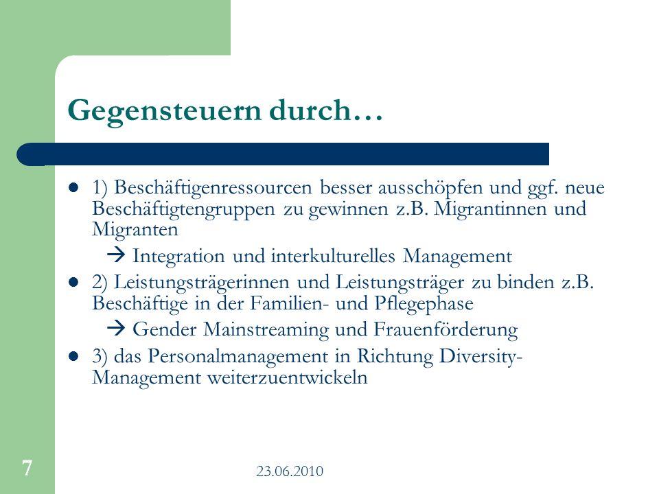 23.06.2010 7 Gegensteuern durch… 1) Beschäftigenressourcen besser ausschöpfen und ggf. neue Beschäftigtengruppen zu gewinnen z.B. Migrantinnen und Mig