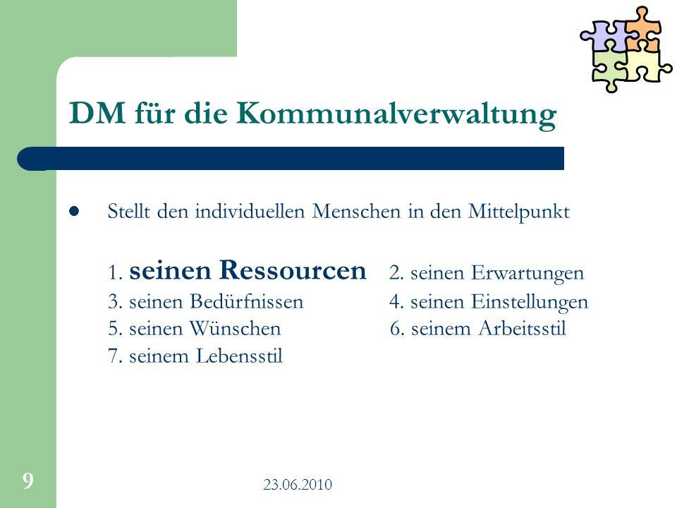 23.06.2010 9 DM für die Kommunalverwaltung Stellt den individuellen Menschen in den Mittelpunkt 1. seinen Ressourcen 2. seinen Erwartungen 3. seinen B