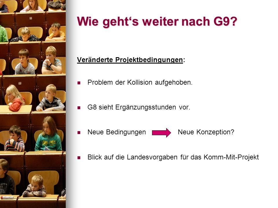 Wie gehts weiter nach G9? Veränderte Projektbedingungen: Problem der Kollision aufgehoben. G8 sieht Ergänzungsstunden vor. Neue Bedingungen Neue Konze