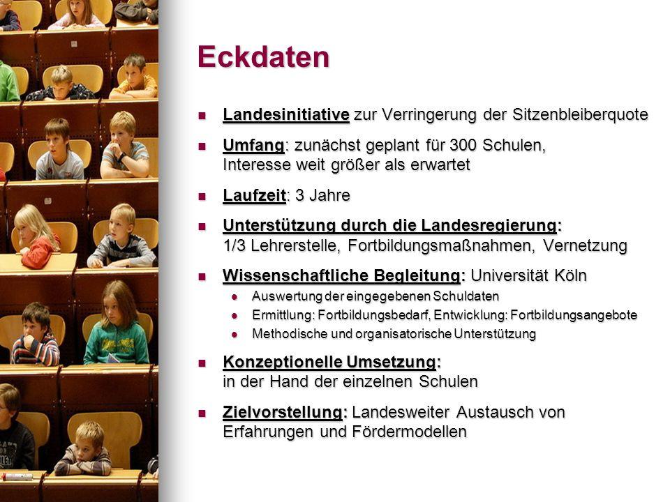 Eckdaten Landesinitiative zur Verringerung der Sitzenbleiberquote Landesinitiative zur Verringerung der Sitzenbleiberquote Umfang: zunächst geplant fü