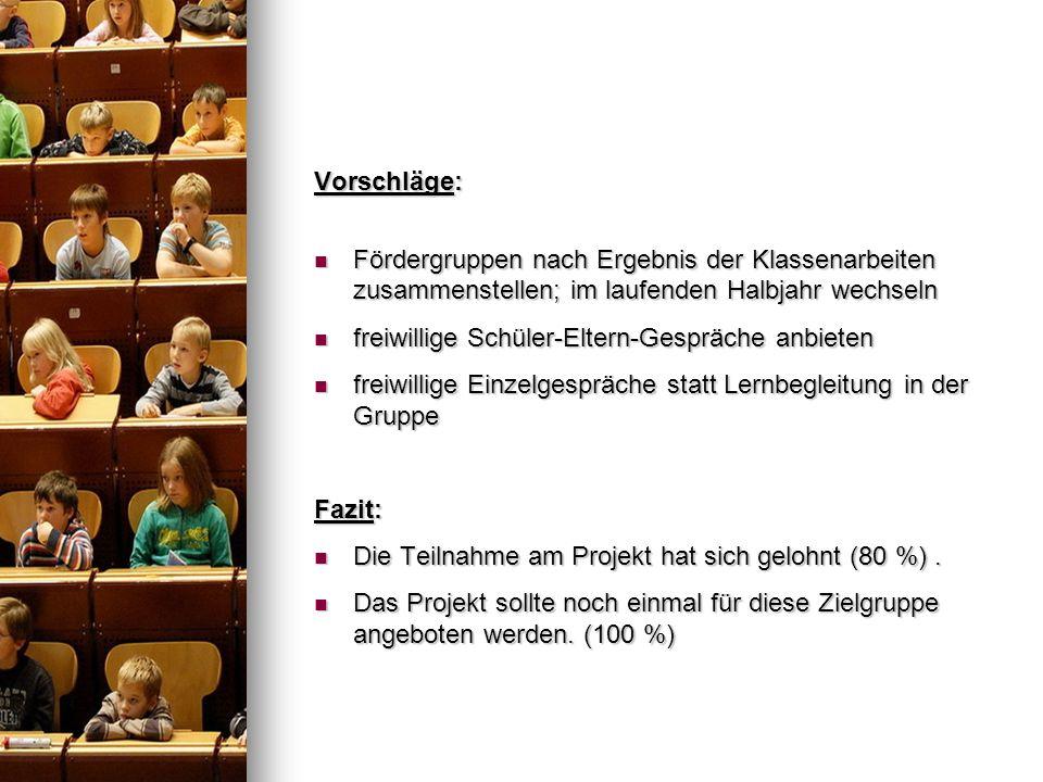 Vorschläge: Fördergruppen nach Ergebnis der Klassenarbeiten zusammenstellen; im laufenden Halbjahr wechseln Fördergruppen nach Ergebnis der Klassenarb