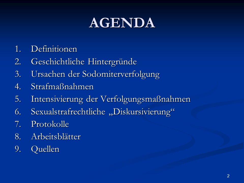 2 AGENDA 1.Definitionen 2.Geschichtliche Hintergründe 3.Ursachen der Sodomiterverfolgung 4.Strafmaßnahmen 5.Intensivierung der Verfolgungsmaßnahmen 6.