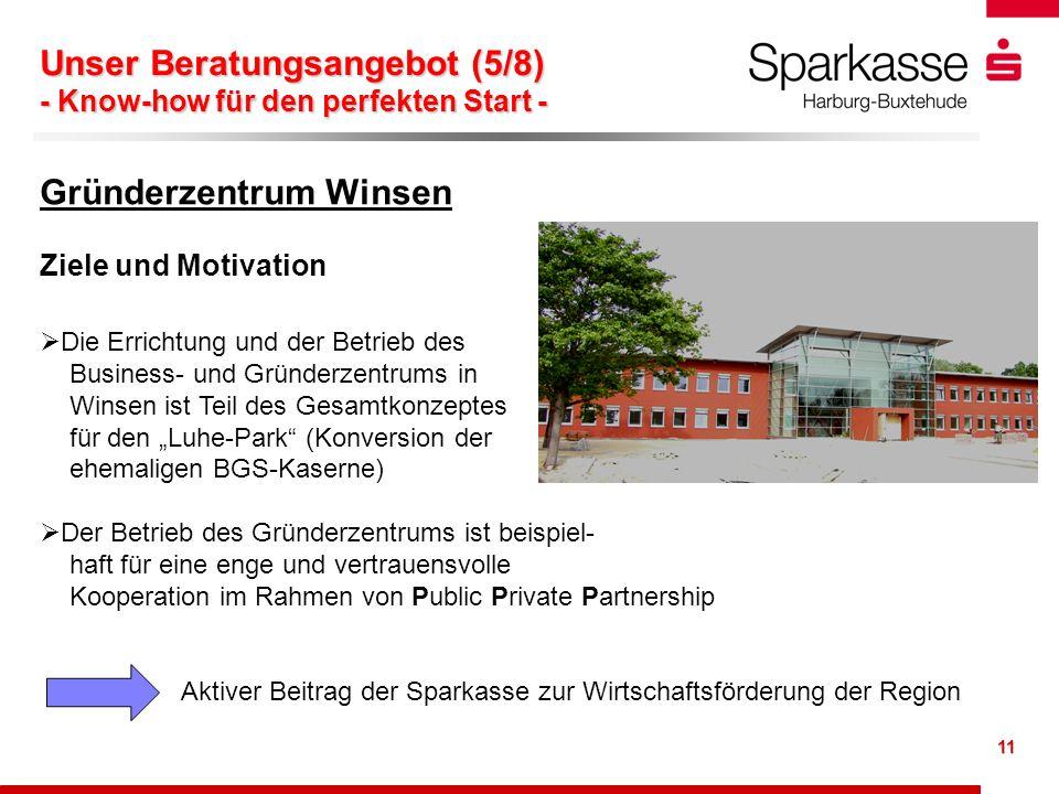 11 Gründerzentrum Winsen Ziele und Motivation Die Errichtung und der Betrieb des Business- und Gründerzentrums in Winsen ist Teil des Gesamtkonzeptes
