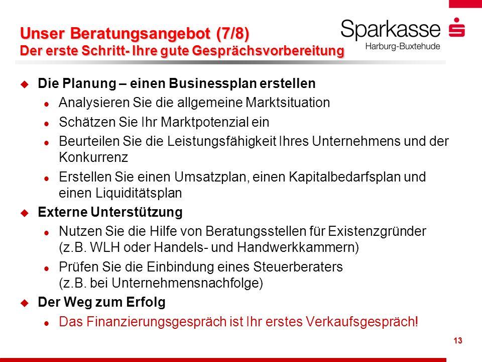 13 Unser Beratungsangebot (7/8) Der erste Schritt- Ihre gute Gesprächsvorbereitung u u Die Planung – einen Businessplan erstellen l l Analysieren Sie