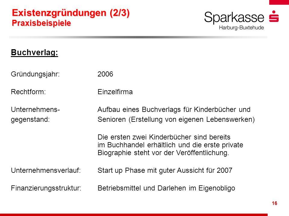 16 Buchverlag: Gründungsjahr: 2006 Rechtform: Einzelfirma Unternehmens- Aufbau eines Buchverlags für Kinderbücher und gegenstand: Senioren (Erstellung