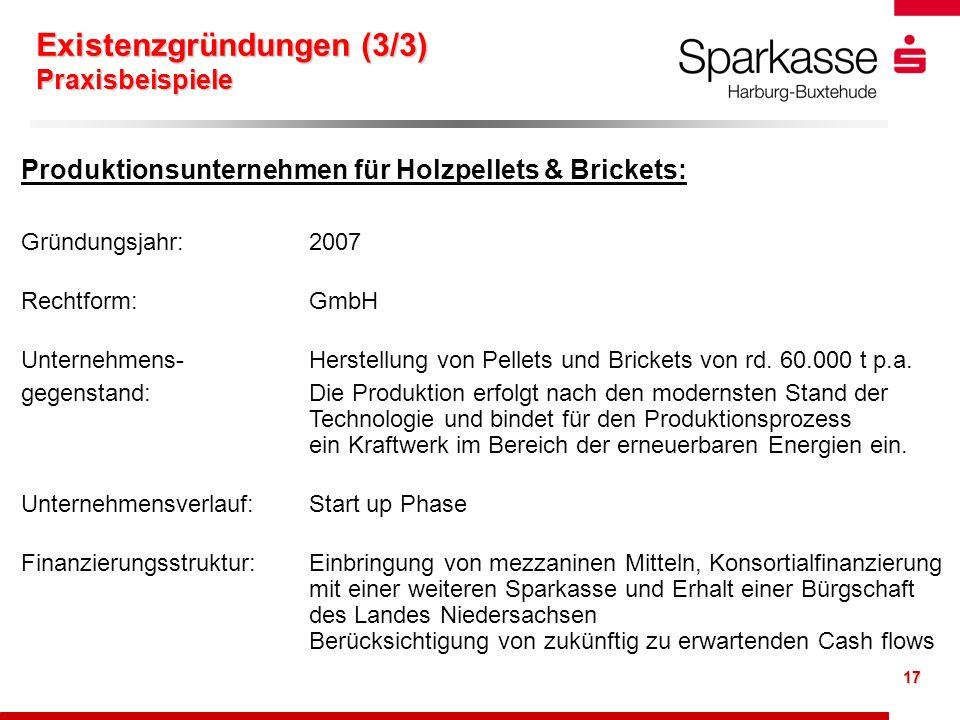 17 Produktionsunternehmen für Holzpellets & Brickets: Gründungsjahr: 2007 Rechtform: GmbH Unternehmens- Herstellung von Pellets und Brickets von rd. 6