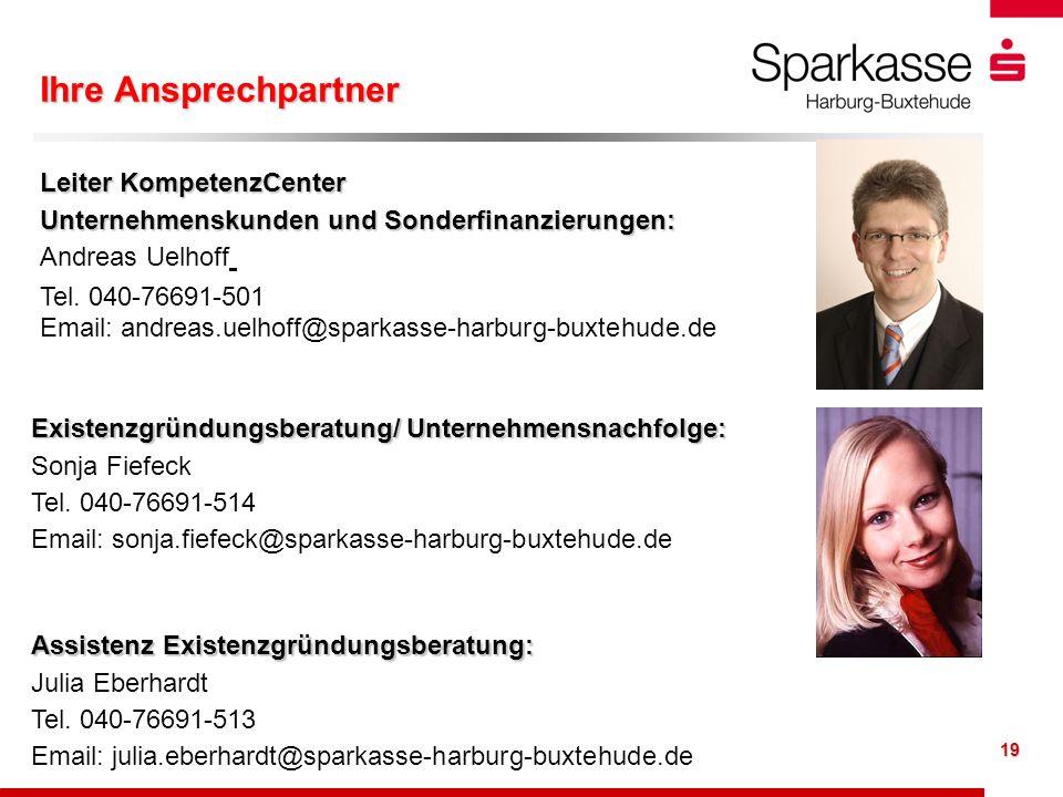 19 Leiter KompetenzCenter Unternehmenskunden und Sonderfinanzierungen: Andreas Uelhoff Tel. 040-76691-501 Email: andreas.uelhoff@sparkasse-harburg-bux