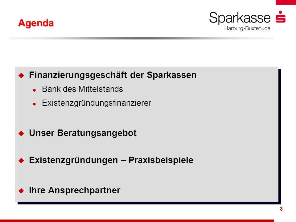3 Agenda u u Finanzierungsgeschäft der Sparkassen l l Bank des Mittelstands l l Existenzgründungsfinanzierer u u Unser Beratungsangebot u u Existenzgr