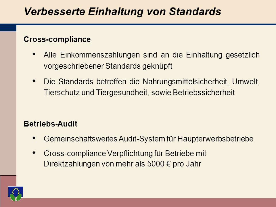Verbesserte Einhaltung von Standards Cross-compliance Alle Einkommenszahlungen sind an die Einhaltung gesetzlich vorgeschriebener Standards geknüpft Die Standards betreffen die Nahrungsmittelsicherheit, Umwelt, Tierschutz und Tiergesundheit, sowie Betriebssicherheit Betriebs-Audit Gemeinschaftsweites Audit-System für Haupterwerbsbetriebe Cross-compliance Verpflichtung für Betriebe mit Direktzahlungen von mehr als 5000 pro Jahr