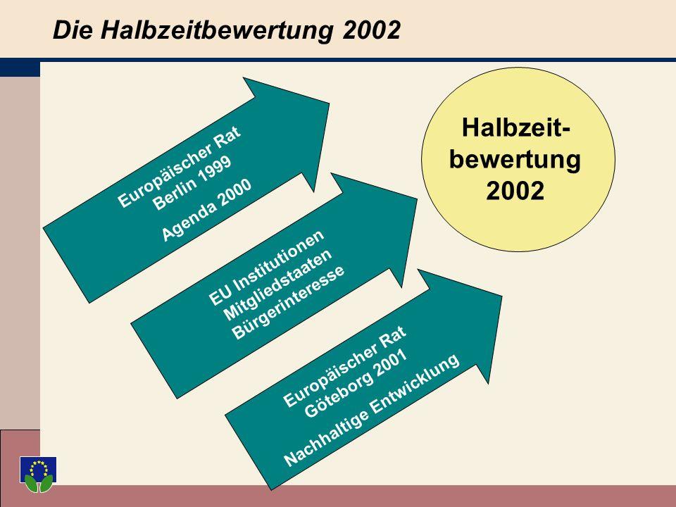 Die Halbzeitbewertung 2002 Europäischer Rat Berlin 1999 Agenda 2000 EU Institutionen Mitgliedstaaten Bürgerinteresse Europäischer Rat Göteborg 2001 Nachhaltige Entwicklung Halbzeit- bewertung 2002