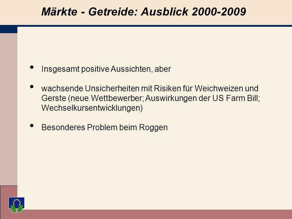 Märkte - Getreide: Ausblick 2000-2009 Insgesamt positive Aussichten, aber wachsende Unsicherheiten mit Risiken für Weichweizen und Gerste (neue Wettbewerber; Auswirkungen der US Farm Bill; Wechselkursentwicklungen) Besonderes Problem beim Roggen