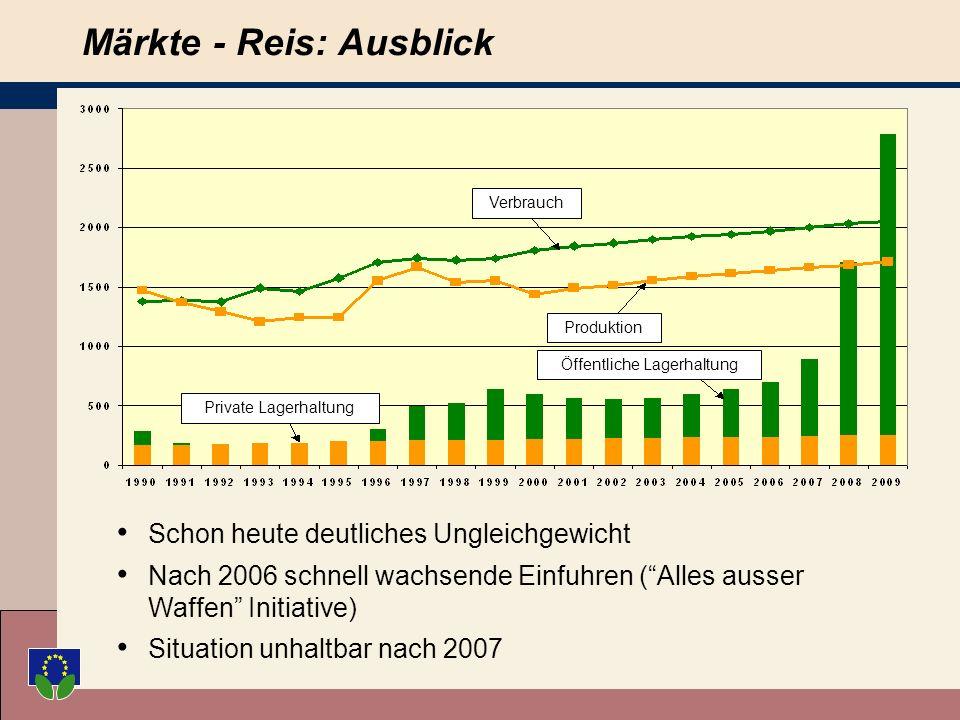 Reduktion des Basispreises um 50% auf 150/ t in 2004/5 Neue Sicherheitsnetzintervention bei 120/t Kompensation in Höhe von 75/t als produktspezifische Zahlung und 102/ t als entkoppelte Zahlung Märkte - Reis: Vorschläge