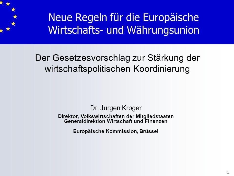 1 Neue Regeln für die Europäische Wirtschafts- und Währungsunion Dr. Jürgen Kröger Direktor, Volkswirtschaften der Mitgliedstaaten Generaldirektion Wi