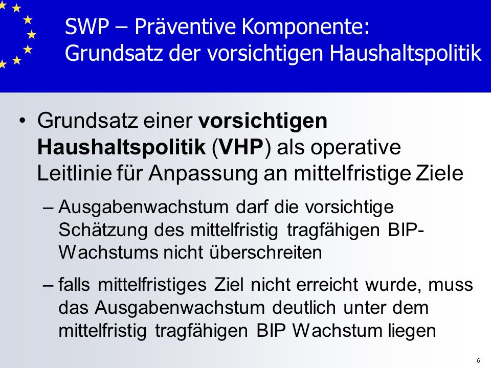 6 Grundsatz einer vorsichtigen Haushaltspolitik (VHP) als operative Leitlinie für Anpassung an mittelfristige Ziele – –Ausgabenwachstum darf die vorsi
