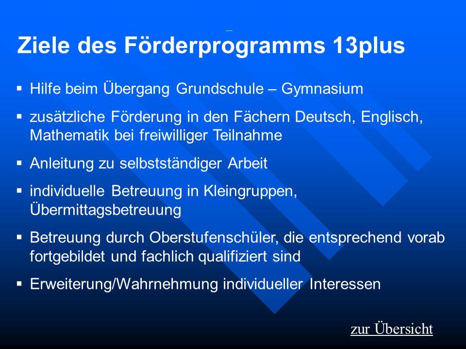 Ziele des Förderprogramms 13plus Hilfe beim Übergang Grundschule – Gymnasium zusätzliche Förderung in den Fächern Deutsch, Englisch, Mathematik bei fr