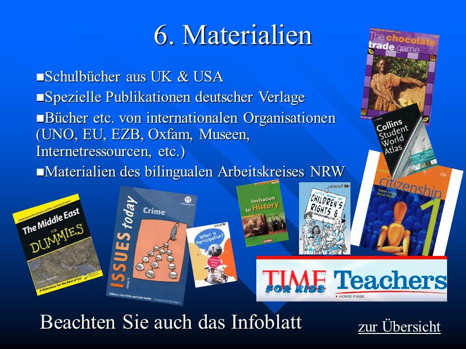 6. Materialien zur Übersicht Schulbücher aus UK & USA Schulbücher aus UK & USA Spezielle Publikationen deutscher Verlage Spezielle Publikationen deuts