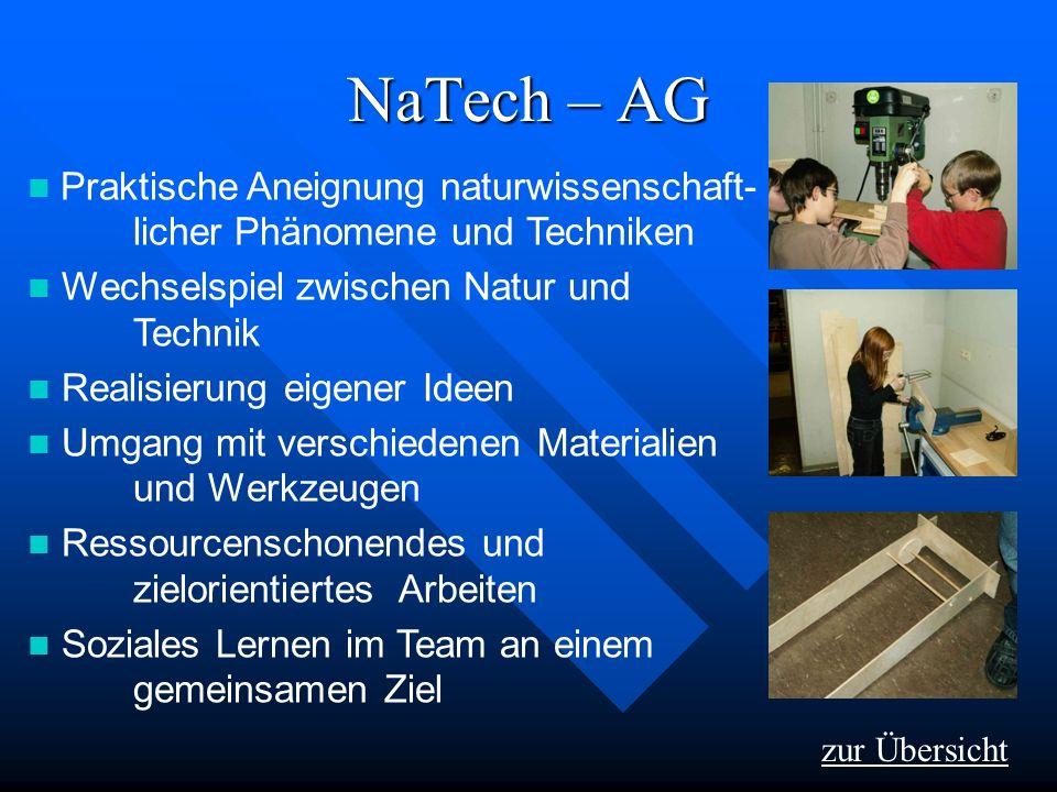 NaTech – AG zur Übersicht Praktische Aneignung naturwissenschaft- licher Phänomene und Techniken Wechselspiel zwischen Natur und Technik Realisierung