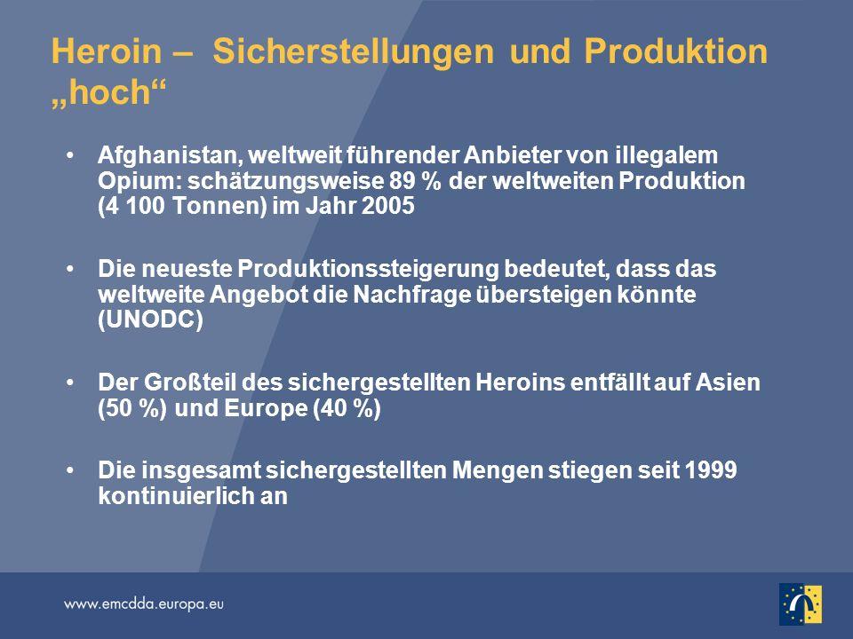 Heroin – Sicherstellungen und Produktion hoch Afghanistan, weltweit führender Anbieter von illegalem Opium: schätzungsweise 89 % der weltweiten Produk