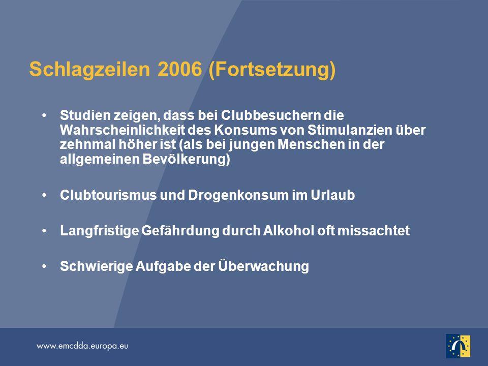Schlagzeilen 2006 (Fortsetzung) Studien zeigen, dass bei Clubbesuchern die Wahrscheinlichkeit des Konsums von Stimulanzien über zehnmal höher ist (als