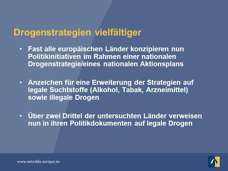 Drogenstrategien vielfältiger Fast alle europäischen Länder konzipieren nun Politikinitiativen im Rahmen einer nationalen Drogenstrategie/eines nation