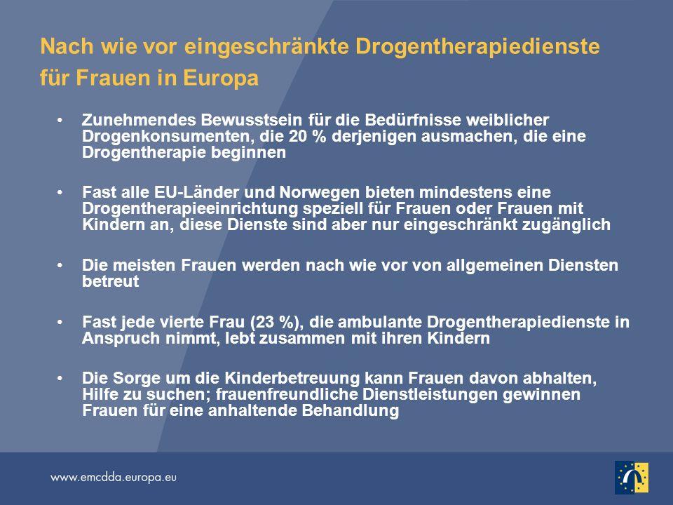 Nach wie vor eingeschränkte Drogentherapiedienste für Frauen in Europa Zunehmendes Bewusstsein für die Bedürfnisse weiblicher Drogenkonsumenten, die 2