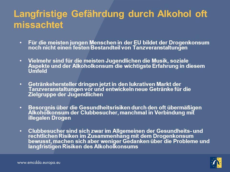 Langfristige Gefährdung durch Alkohol oft missachtet Für die meisten jungen Menschen in der EU bildet der Drogenkonsum noch nicht einen festen Bestand
