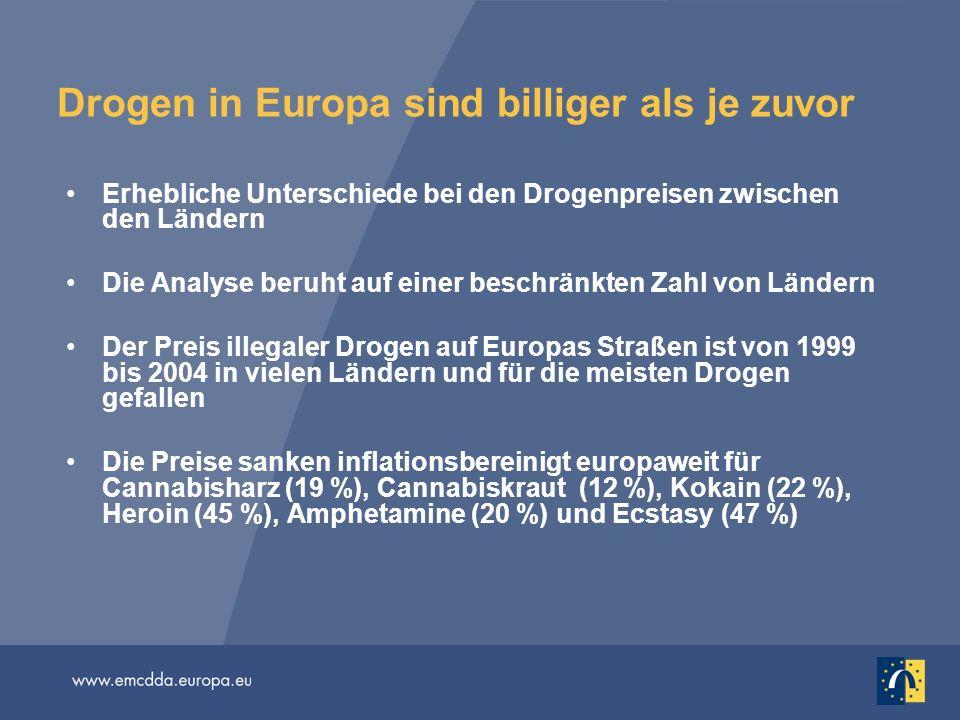 Drogen in Europa sind billiger als je zuvor Erhebliche Unterschiede bei den Drogenpreisen zwischen den Ländern Die Analyse beruht auf einer beschränkt