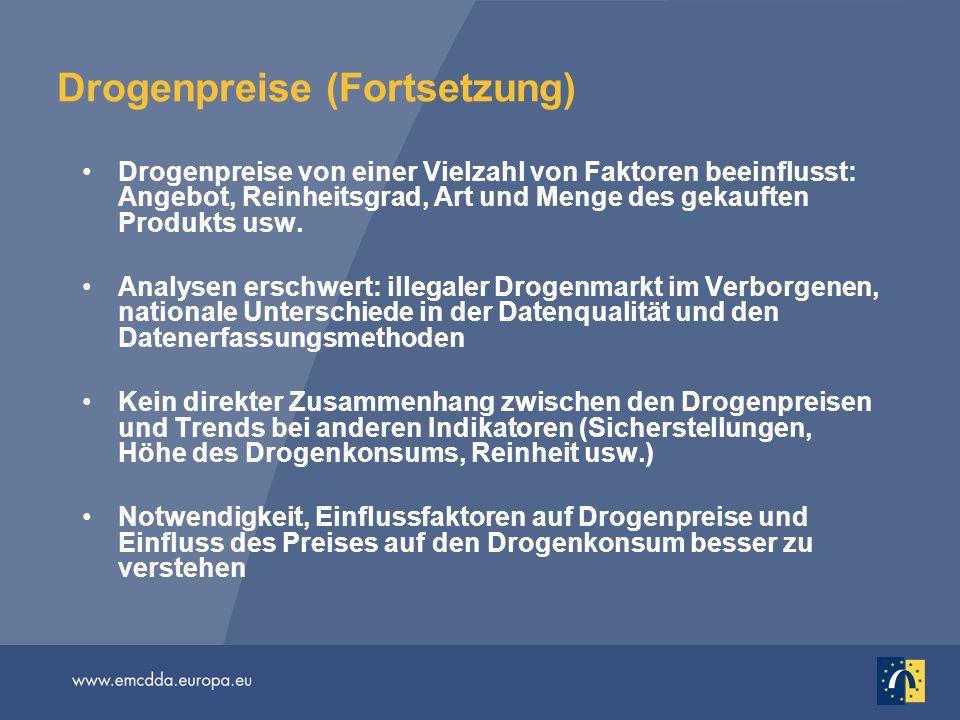 Drogenpreise (Fortsetzung) Drogenpreise von einer Vielzahl von Faktoren beeinflusst: Angebot, Reinheitsgrad, Art und Menge des gekauften Produkts usw.