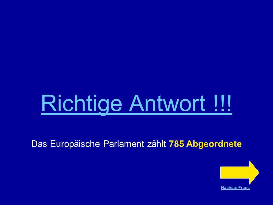 Frage Nr.19 Das Europäische Parlament zählt 545 Abgeordnete 625 Abgeordnete 785 Abgeordnete